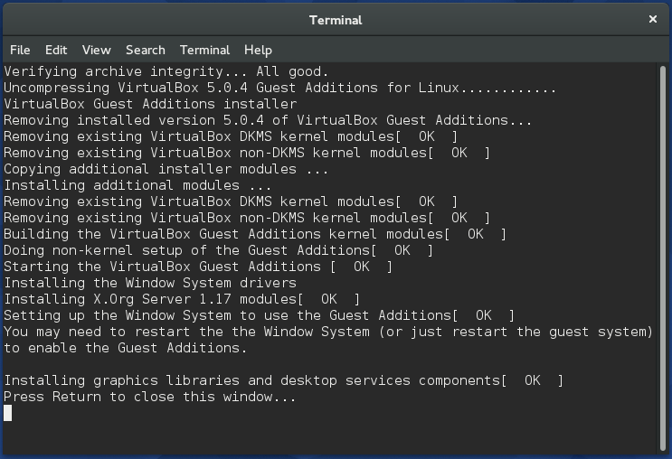Installing VirtualBox Guest Additions in Fedora 22 - Notes